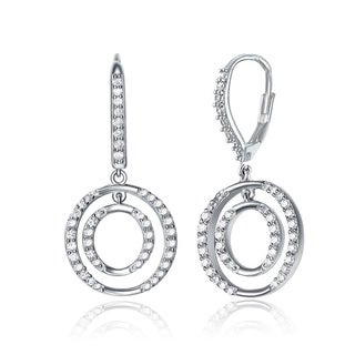 Collette Z Sterling-Silver Cubic-Zirconia Euro-Clasp Round Drop Earrings