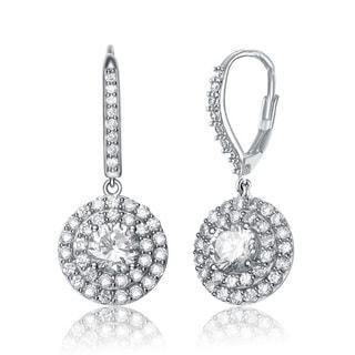 Collette Z Sterling-Silver Cubic-Zirconia Round Drop Dangle Earrings
