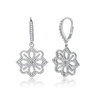 Collette Z Sterling Silver Cubic Zirconia Fancy Flower Earrings