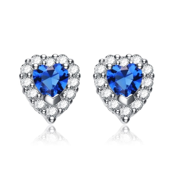 Collette Z Sterling Silver Blue Cubic Zirconia Heart-Shape Stud Earrings