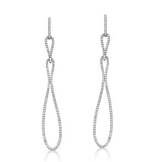 Collette Z Sterling Silver Cubic Zirconia Long Dangling Earrings