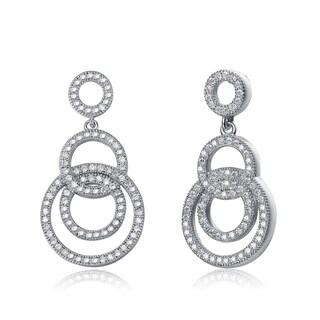 Collette Z Sterling Silver Cubic Zirconia Circle Drop Earrings