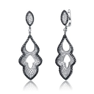 Collette Z Sterling Silver Black and White Cubic Zirconia Earrings