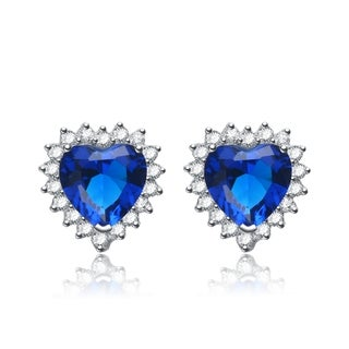 Collette Z Sterling Silver Blue Cubic Zirconia Heart-shape Earrings