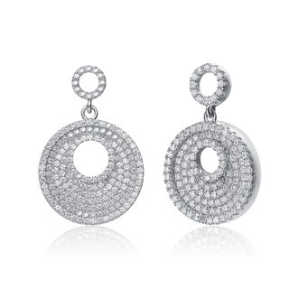 Collette Z Sterling-Silver Cubic-Zirconia Butterfly-Clasp Circle Drop Earrings