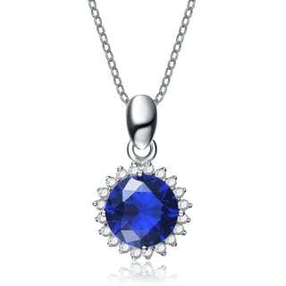 Collette Z Sterling Silver Blue Cubic Zirconia Stud Necklace