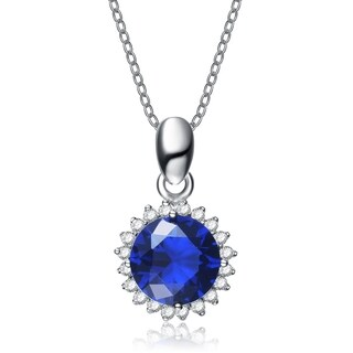 Collette Z Sterling Silver Blue Cubic Zirconia Stud Necklace