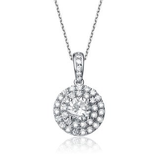 Collette Z Sterling Silver Cubic Zirconia Round Drop Necklace