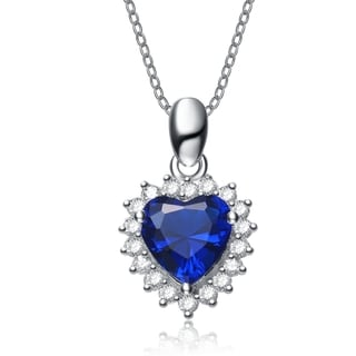 Collette Z Sterling Silver Blue Cubic Zirconia Heart-shape Necklace