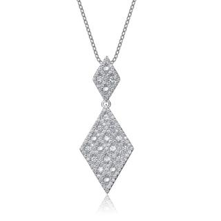 Collette Z Sterling Silver Cubic Zirconia Diamond-shape Drop Necklace
