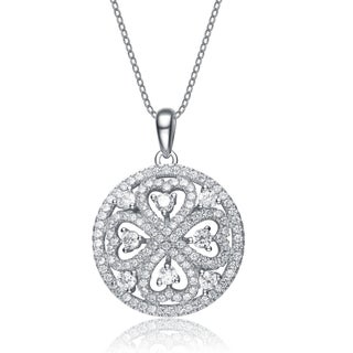 Collette Z Sterling Silver Cubic Zirconia Circle Drop Necklace