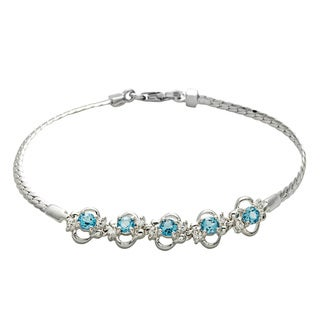 Oravo Sterling Silver Swiss Blue Topaz and Cubic Zirconia Bracelet