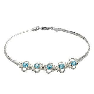 Oravo Sterling Silver Swiss Blue Topaz and Cubic Zirconia Bracelet