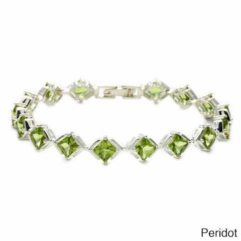 Oravo Sterling Silver Princess-cut Gemstone Bracelet