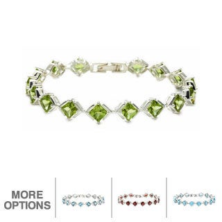 Oravo Sterling Silver Princess-cut Gemstone Bracelet