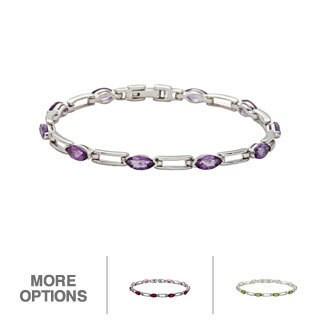 Oravo Sterling Silver Marquise-cut Gemstone Bracelet
