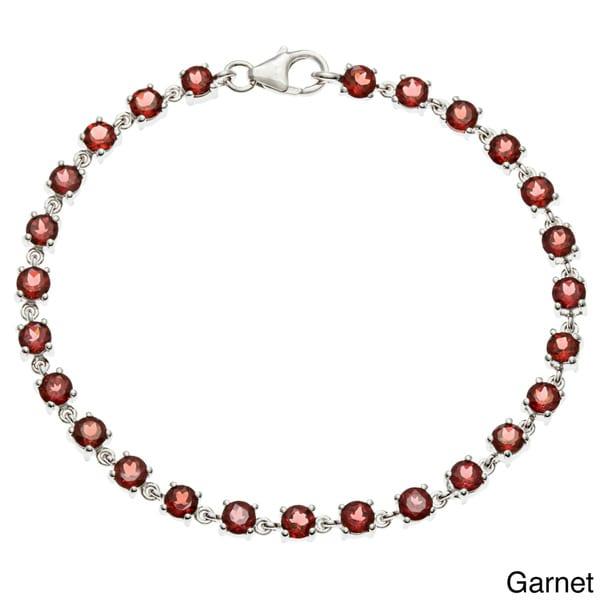 Oravo Sterling Silver Round-cut Gemstone Bracelet