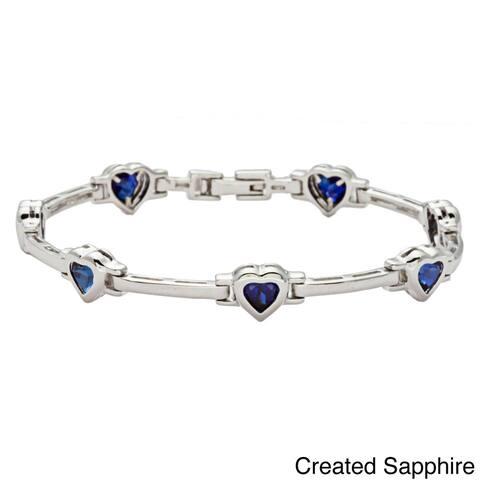Oravo Sterling Silver Heart-cut Gemstone Bracelet