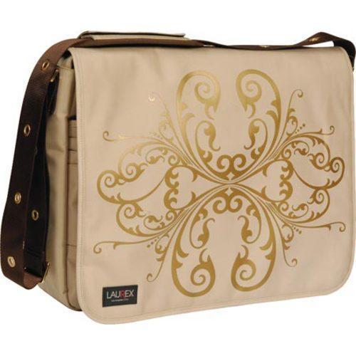 Women's Laurex 17in Laptop Messenger Bag Beige Butterfly - Free ...