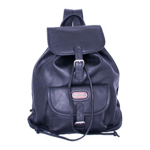 Women's Leatherbay Single Pocket Leather Backpack Black
