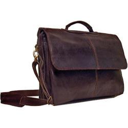 LeDonne Leather Chocolate Flap-Over Messenger Bag