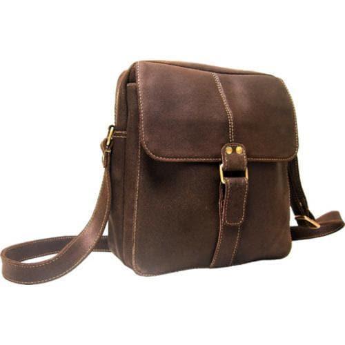 LeDonne Chocolate Distressed Leather Messenger Bag