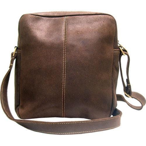 LeDonne Chocolate Distressed Leather Messenger Bag - Thumbnail 1