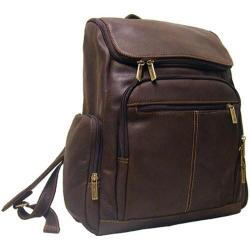 LeDonne Chocolate Distressed Leather Zipper Backpack