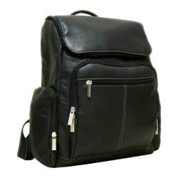 LeDonne Black Leather Zippered Backpack