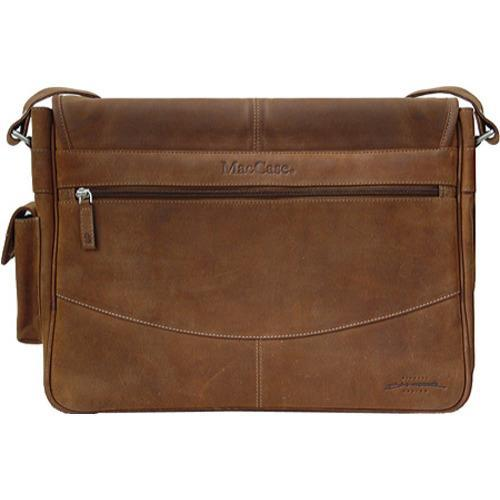 MacCase Premium Leather Large Vintage Laptop Messenger Bag - Thumbnail 1