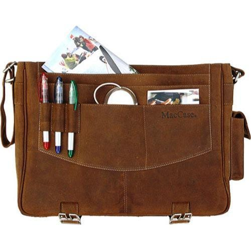 MacCase Premium Leather Large Vintage Laptop Messenger Bag - Thumbnail 2