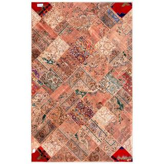 Herat Oriental Pak Persian Hand-knotted Patchwork Wool Rug (6'4 x 9'11)