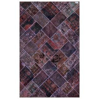 Herat Oriental Pak Persian Hand-knotted Patchwork Wool Rug (6'2 x 9'8)