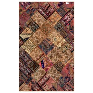 Herat Oriental Pak Persian Hand-Knotted Patchwork Multicolored Wool Rug (6'2 x 9'11)