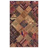 Herat Oriental Pak Persian Hand-knotted Patchwork Wool Rug - 6'2 x 9'11