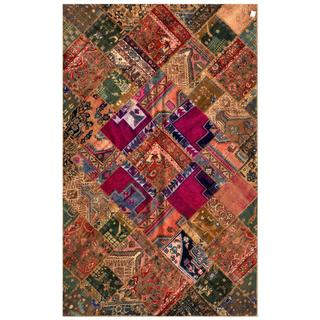 Herat Oriental Pak Persian Hand-knotted Patchwork Wool Rug (6'3 x 9'10)