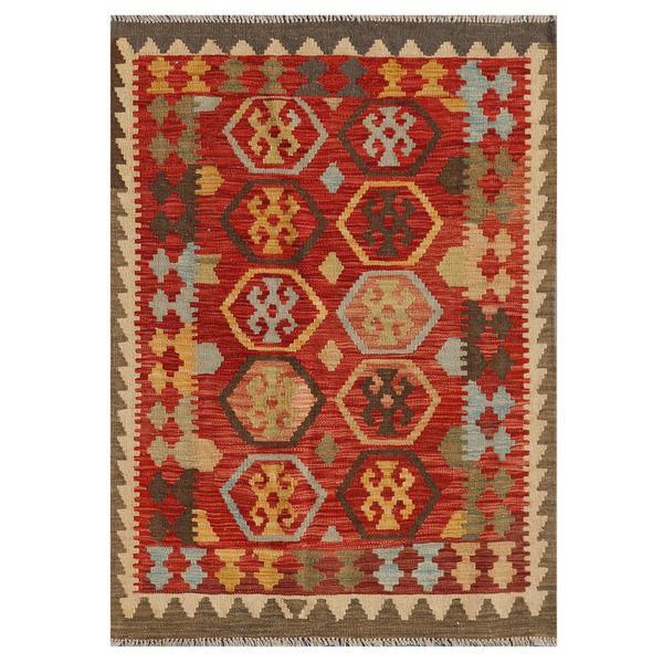 Afghan Hand-knotted Mimana Kilim Red/ Brown Wool Rug (3'2 x 4'4)