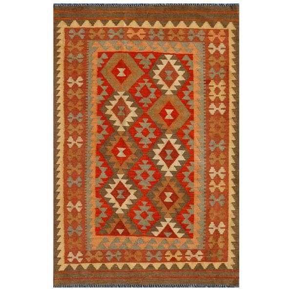 Afghan Hand-knotted Mimana Kilim Rust/ Red Wool Rug (3'5 x 5'2)