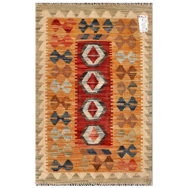 Afghan Hand-knotted Mimana Kilim Orange/ Red Wool Rug (2' x 3'1)