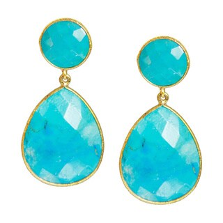 Handmade Saachi Gold Clad Faceted Double Drop Gemstone Earrings (India)