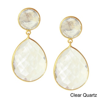 Saachi 18k Gold Clad Faceted Double Drop Gemstone Earrings (India)