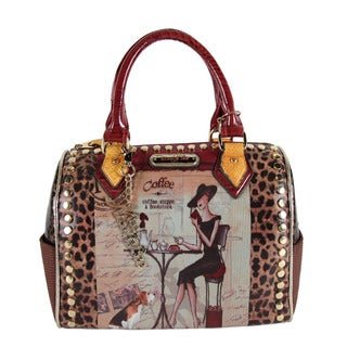 Women's Nicole Lee Kayla Blocked Fashionista Print Satchel Clock Tower
