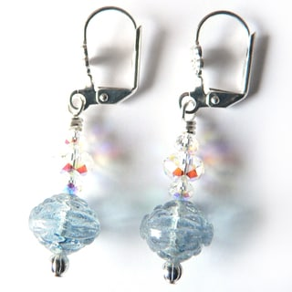 'Bella' Blue Rosebud Dangle Earrings