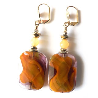 'Barbara Ann' Tigerskin Glass Dangle Earrings