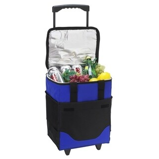 Picnic at Ascot 32 Can Collapsible Rolling Insulated Cooler - Royal Blue