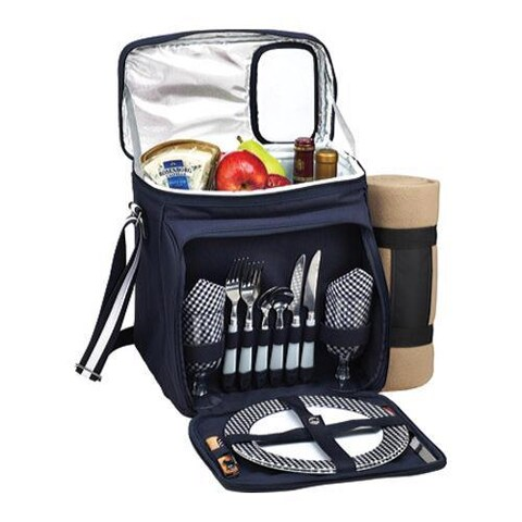 Picnic at Ascot Bold Picnic Cooler for Two with Blanket Navy/White