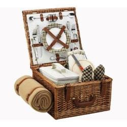 Picnic at Ascot Cheshire Basket for Two with Blanket Wicker/Gazebo