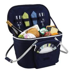 Picnic at Ascot Collapsible Insulated Picnic Basket for Two Navy