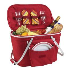 Picnic at Ascot Collapsible Insulated Picnic Basket for Two Red