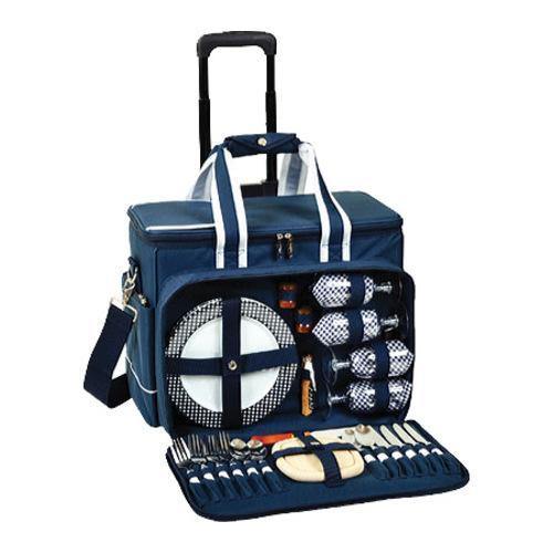 Picnic at Ascot Deluxe Picnic Cooler for Four/Wheeled Cart Navy - Thumbnail 1
